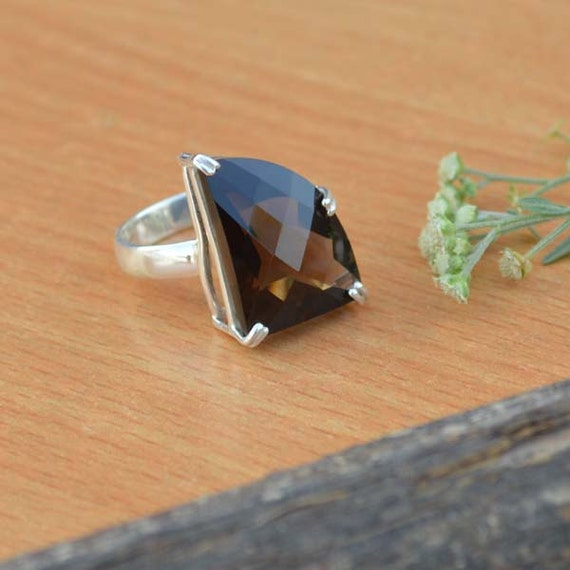 Round Cut Smoky Quartz Gemstone, 925 Sterling Silver, Round Brown Gemstone Ring,  Artisan Bezel Set Ring, Mother's Gift Jewelry Size 8