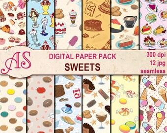 Digital Sweets Seamless Paper Pack, 12 printable Digital Scrapbooking papers, dessert Digital Collage, Instant Download, set 51