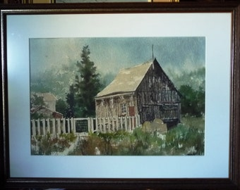 "Original Rural Watercolor Landscape, Amish Backyard Fence and Shed by Marlene Jofriet ""The Backgate"" 1973"