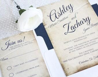 Rustic Wedding Invitations, Navy Wedding Invitations, Wedding Invitations, Rustic, Navy, SAMPLE