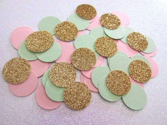 225 Blush Pink Mint Green Glitter Gold Confetti Mint Blush Wedding ...