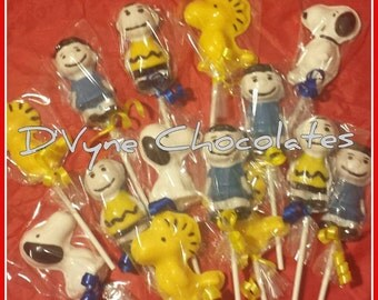 Snoopy/ Woodstock/ Charlie Brown/ Lucy/ Peanuts inspired chocolate lollipops- 12