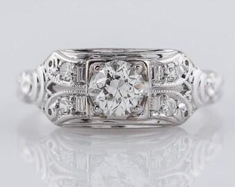 Antique Engagement Ring Art Deco .25ct Old European Cut Diamond in 18k White Gold