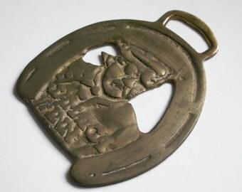 Horse Brass Medallion Jamaica Inn Men Horseshoe Vintage patina barn England equestrian talisman