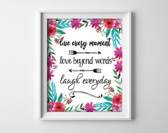 "INSTANT DOWNLOAD 8X10"" printable digital art - Live every moment - Inspirational - Black,white - Floral - Arrows - Home decor - Typography"