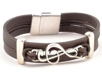 treble clef bracelet, music note bracelet, music teacher gift, men women leather bracelet, music gifts, piano teacher, treble clef charm