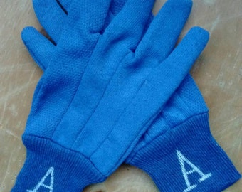 Blue School Pride Garden Gloves for Mom, Dad, Grandparents- Rubber Soled Palm, 8.00US