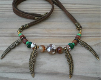 Tribal gemstone necklace Tribal feather necklace Hippie necklace Tribal mens necklace Primitive jewelry Earthy necklace Boho necklace