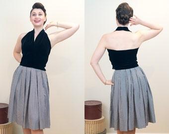 1940s Vintage Top - Vixen Black Velvet Halter Top with Side Zip