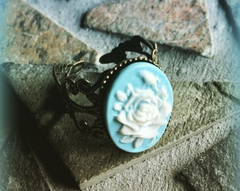Victorian Antique Bronze White Rose and Blue Cameo Adjustable Ring