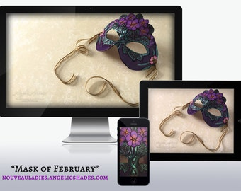 Mask of February Art Nouveau African Violets and Ametyhst Birthstones Birth Flowers Wallpapers for Desktop, Phone, and Tablet