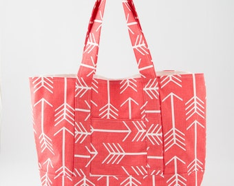 Coral and White Arrow Print Large Square Bottom Tote