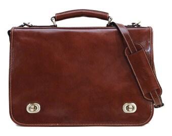 Roma Leather Messenger Bag, Briefcase, Mens Leather Bag, Satchel, Dude Cross Body Bag (106BROWN)