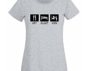 Womens T-Shirt with Quote Eat Sleep Fish Design / Fishing Fisher Inspirational Shirts / Fisherman Shirt + Free Random Decal
