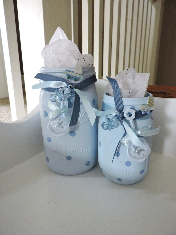 Baby Gift Jars : Baby boy shower painted mason jars