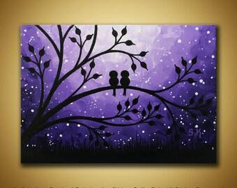 Love birds Painting, Mini Canvas art, Purple painting Birds on tree art Love birds decor Mini painting birds wall art Love art Gift idea