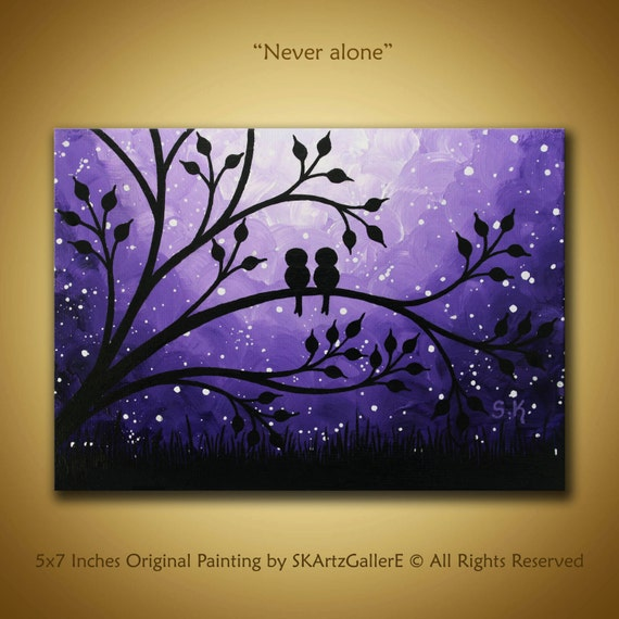 112 Best Images About House Painting On Pinterest: Love Birds Painting Mini Canvas Art Purple Painting Birds On