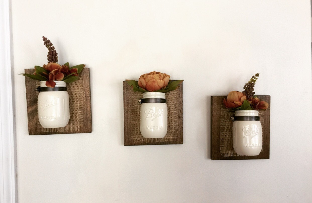 Wall Decor With Mason Jars : Mason jar wall decor set of three by northernoaksdecorco