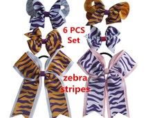 Hair bows  6 Pcs set  Zebra stripes series hairbow Hair clip Cheer bows Ponytail bows  Charming baby girl hair bow