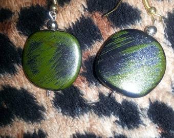 Green/Black Abstract earrings
