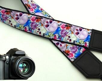 Halloween camera strap. Sugar skulls camera strap. DSLR / SLR Camera Strap. Camera accessories.