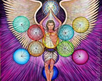 Archangel Metatron 11x14 print on canvas by jose SolEda