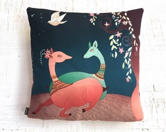 Bambi pillow, Cushion Covers , illustrated pillow , magical Pillow, Throw Pillow  , ZIPPER CLOSE, Pillow Covers