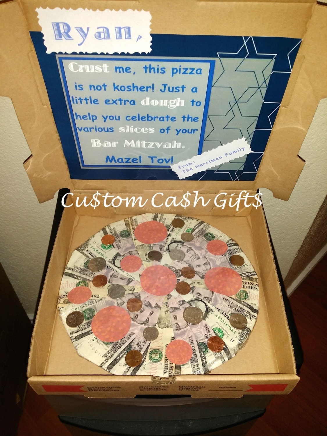 MONEY GIFT Made with Real Money. Bar Mitzvah Moolah Pizza. - photo#45