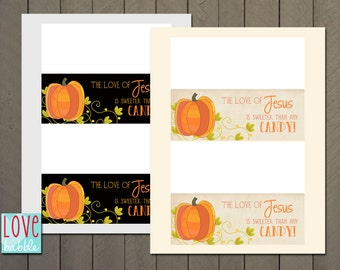 Fall Harvest Autumn Halloween Church  Christian Party Favor tags, Bag toppers, treat topper   - PRINTABLE DIGITAL FILE - 2.5 x 6.5 folded