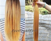 18 Inches Straight Pale Golden Blonde Color Hair Extensions, Indian Remy Clips in Hair Extensions RHS064