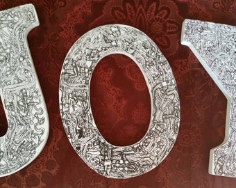JOY wood letters, 9in by Addison