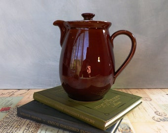Vintage Denby Stoneware Coffee Pot Chestnut Brown Sky Blue Kitchenalia