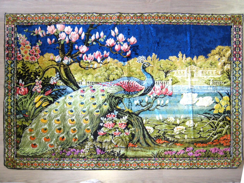 Vintage Velvet Tapestry Peacock Wall Rug Crushed Velvet Wall
