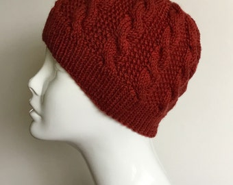 Hand knit cable beanie, wool cabled beanie, hand knit cable hat, red  wool beanie, ready to ship, hand knit gift.