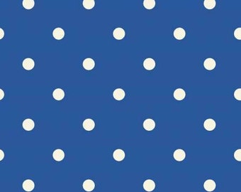 Puddle Jumpers Dark Blue Polka Dots cotton fabric, by Kathy Brown