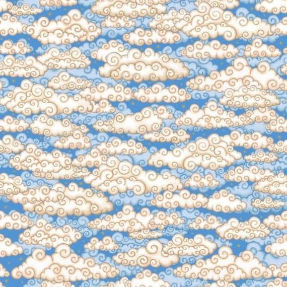 Celestial sol light blue clouds cotton fabric by quilting for Celestial fabric by the yard