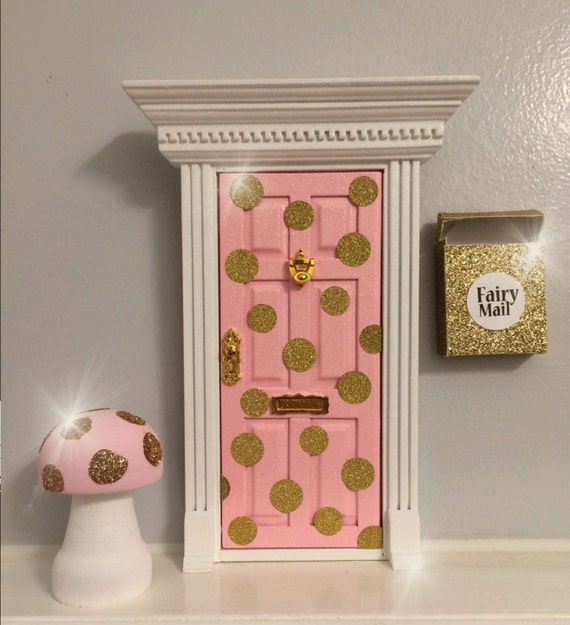 Items similar to new pink and gold glitter polka dot for Princess fairy door