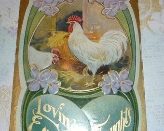 Rooster, Hen, Violets and Large Green Eggs Antique Easter Postcard