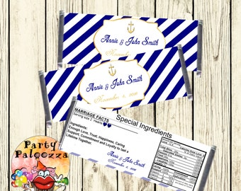 Printable personalized  Nautical  Wedding Candy bar wrapper