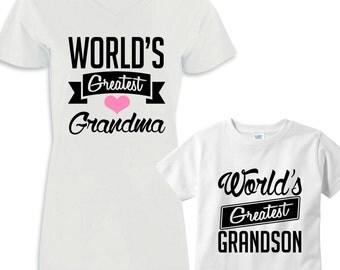 World's Greatest Grandma - World's Greatest Grandson Shirt Set