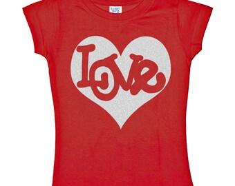Love Inside Silver Heart Glitter on Red Shirt for Kids