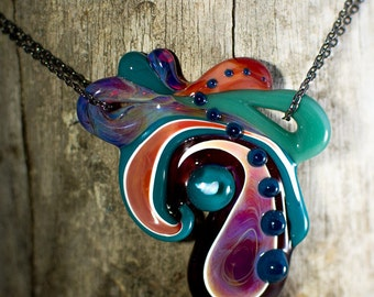 Glass Paisley pendant with opal