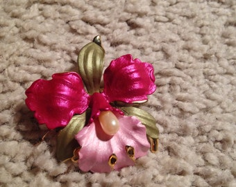 Hawaiian Tropical Purple Flower Brooch