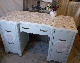 SOLD! Shabby Blue Mosaic Desk/Vanity in Vintage China and Stained Glass
