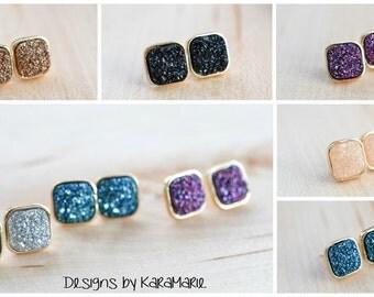 SALE!! Square Druzy Stud Earrings! Drusy stud earrings! 12 colors!!