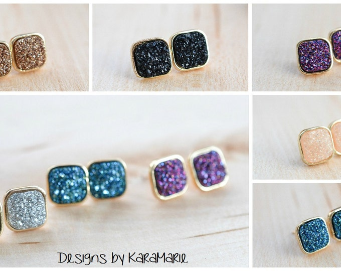 Featured listing image: SALE!! Square Druzy Stud Earrings! Drusy stud earrings! 12 colors!!