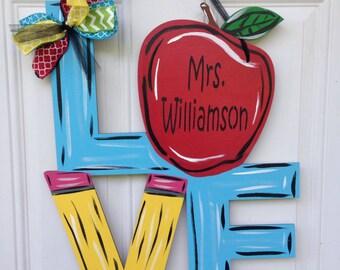 Teacher door hanger, school door hanger, classroom door hanger, classroom decor, teacher appreciation gift, teacher gift, custom door hanger