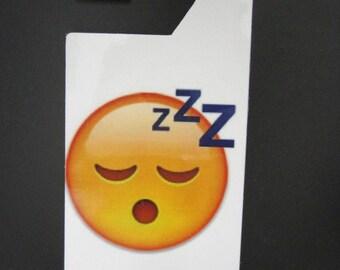 Emoji Sleeping Face Do not disturb door hanger.