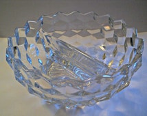 Fostoria Glass Bowl Elegant Vintage Dining Divided Sugar, Candy, Nuts or Condiment Dish
