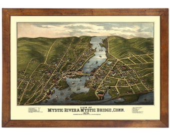 Mystic River, CT 1879 Bird's Eye View; 24x36 Print from a Vintage Lithograph